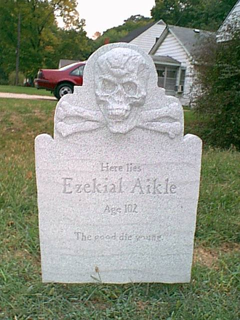 Scary Tombstone Sayings http://www.ourfixerupper.com/diy-tombstones-to-haunt-your-house.htm